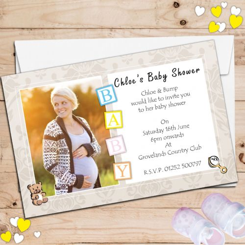 10 Personalised Boy Girl Baby Shower PHOTO Party Invitations N7